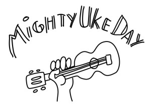 Mighty Uke Day logo inverted